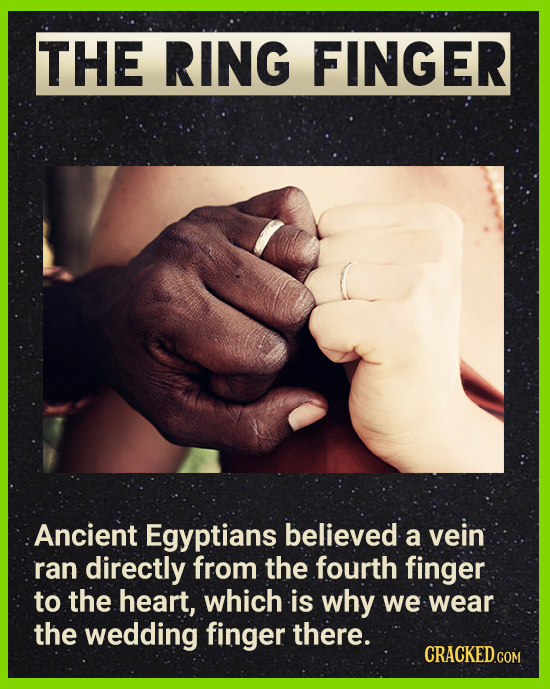 THE RING FINGER Ancient Egyptians believed vein a ran directly from the fourth finger to the heart, which is why we wear the wedding finger there. CRA