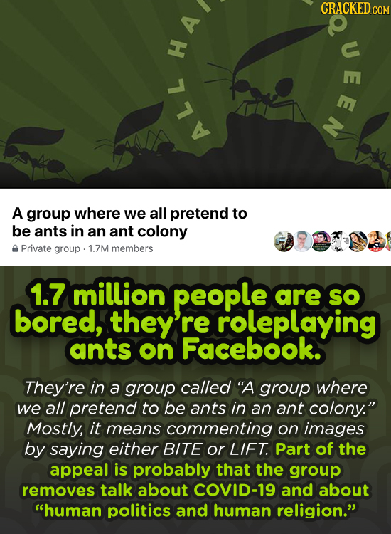 CRACKED CO u H A ALL A group where we all pretend to be ants in an ant colony Private group 1.7M members 1.7 million people are SO bored, they re role