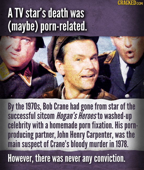 A TV star's death was (maybe) porn-related. By the 1970s, Bob Crane had gone from star of the successful sitcom Hogan's Heroes to washed-up