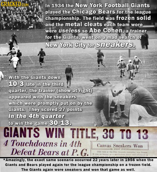 CRACKED CON COM In 1934 the New York Football Giants played the Chicago Bears for the league championship. The field frozen solid was and the metal cl
