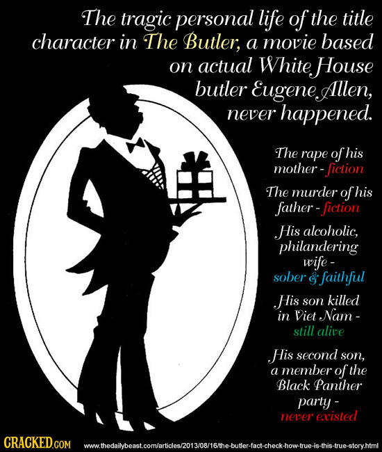 The tragic personal life of the title character in The Butler; a movie based on actual White House butler EugeneAllen, never happened. The rape of his