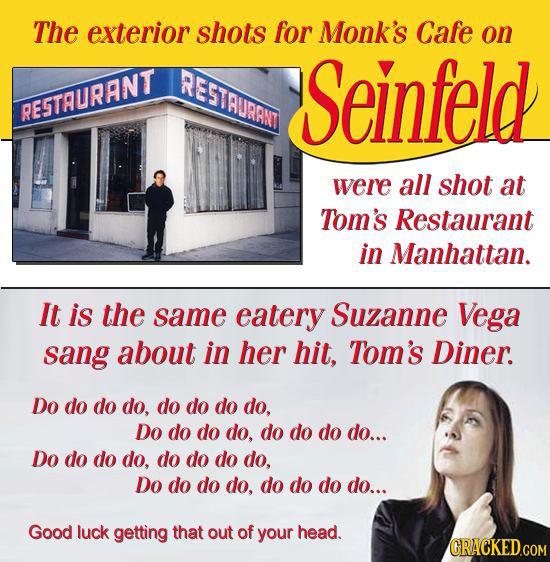 The exterior shots for Monk's Cafe on REGTAURANT Seinfeld RESTAURANT were all shot at Tom's Restaurant in Manhattan. It is the same eatery Suzanne Veg