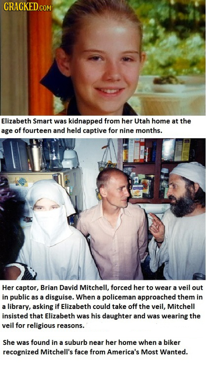 CRACKED.COM Elizabeth Smart was kidnapped from her Utah home at the age of fourteen and held captive for nine months. Her captor, Brian David Mitchell
