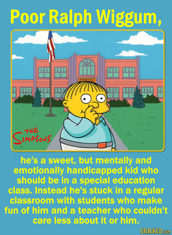 Poor Ralph Wiggum, 88807 SPINGFUELD 00B 0030 SIMPSoS TtHE he's a sweet, but mentally and emotionally handicapped kid who should be in a special educat