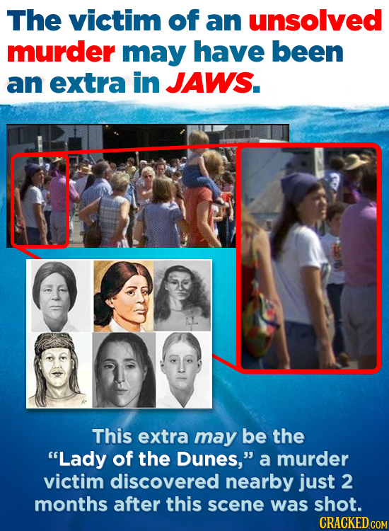 The victim of an unsolved murder may have been an extra in JAWS. This extra may be the Lady of the Dunes, a murder victim discovered nearby just 2 m