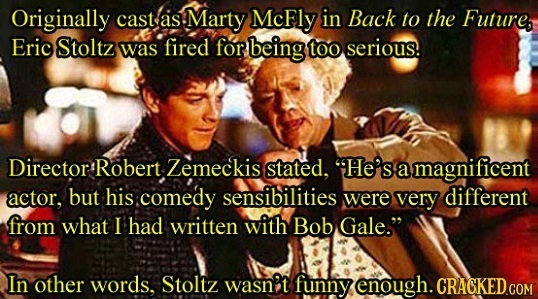 Originally cast as Marty McFly in Back to the Future, Eric Stoltz was fired for rbeing too serious. Director Robert Zemeckis stated, He's a magnifice