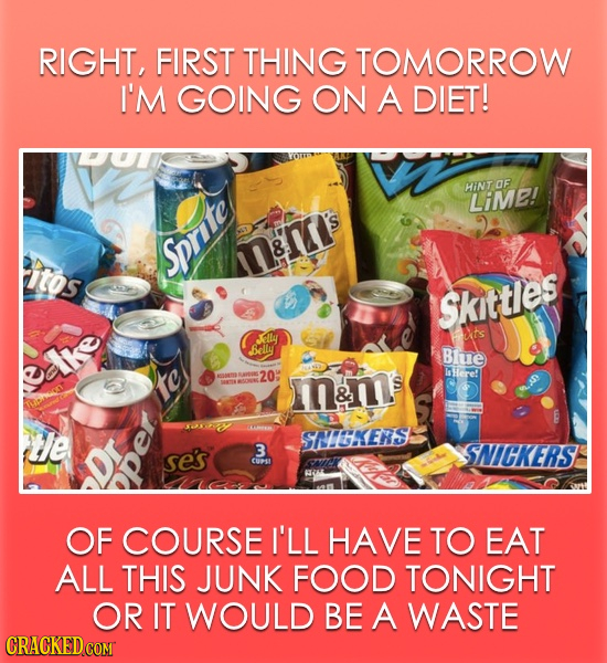 RIGHT, FIRST THING TOMORROW I'M GOING ON A DIET! HINT OF LiMe! 8 itos Sprite Skittles Jally ts Belly Bhue tke AAS 20 Here! oaaE m&m E te SNIGKERS se's