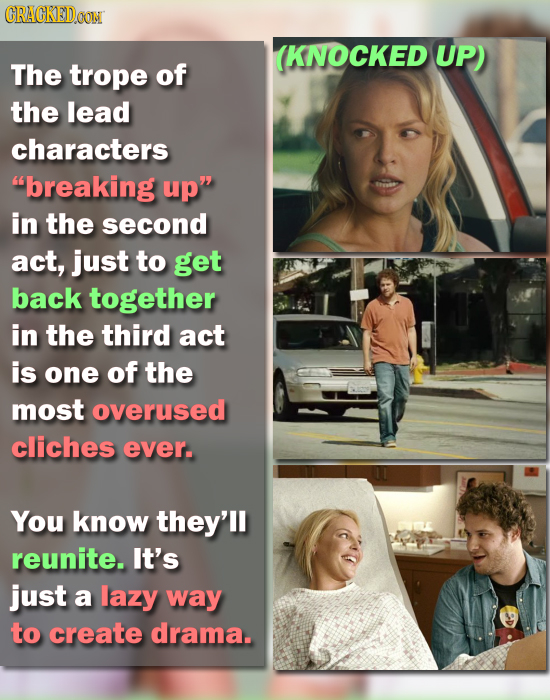 CRACKEDOON (KNOCKED UP) The trope of the lead characters breaking up in the second act, just to get back together in the third act is one of the mos