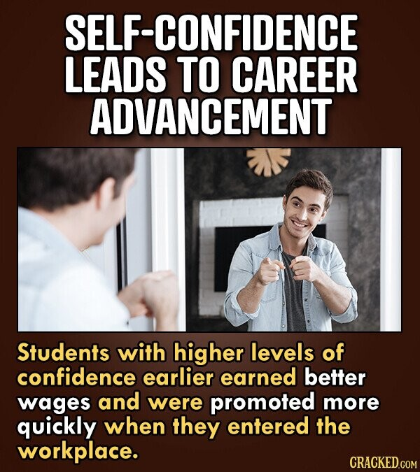 SELF-CONFIDENCE LEADS TO CAREER ADVANCEMENT Students with higher levels of confidence earlier earned better wages and were promoted more quickly when