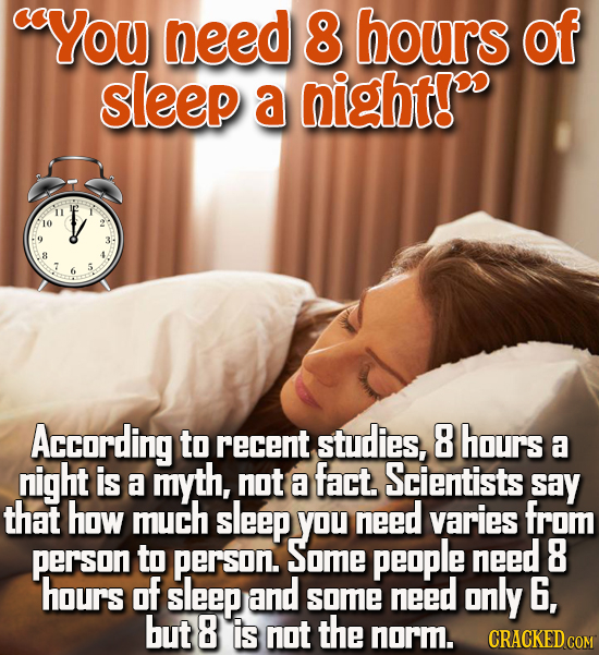 cYou need 8 hours of sleep a night! 10 8 5 According to recent studies, 8 hours a night is fact. a myth, not Scientists a say that how much sleep you