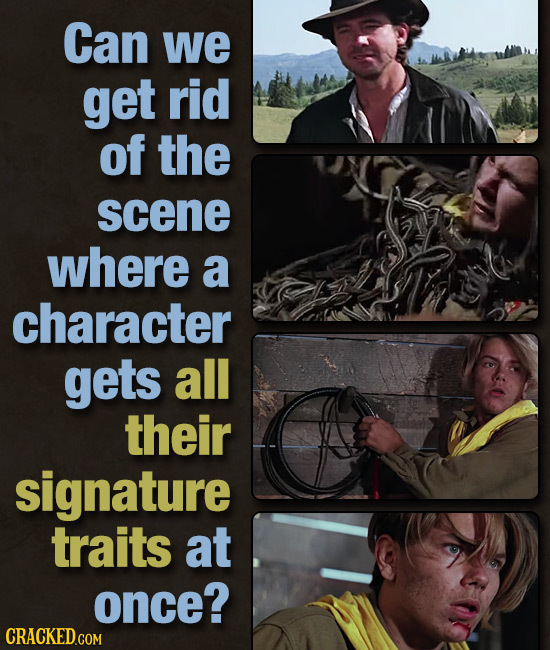 Can we get rid of the scene where a character gets all their signature traits at once?
