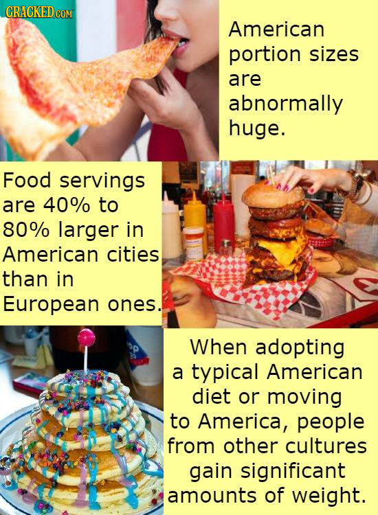 American portion sizes are abnormally huge. Food servings are 40% to 80% larger in American cities than in European ones. When adopting a typical Amer