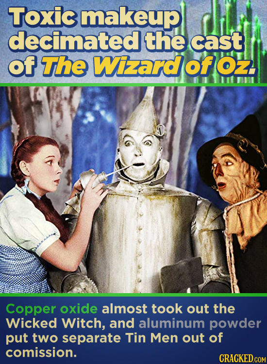 Toxic makeup decimated the cast of The Wizard of Oz. Copper oxide almost took out the Wicked Witch, and aluminum powder put two separate Tin Men out o