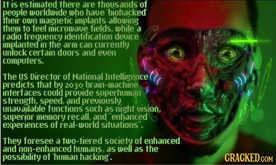 It is estmated there are thousands of people worldwide who haue biohacked their own magnetic implants allowing them to feel microwave fields, while a