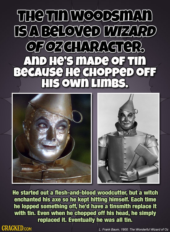 THE Tn WOODSMAN IS BABELOVED WIZARD OFOZCHARAGTER AND HE'S mADe OF TIN BECAUSE HE CHOPPED OFF HIS own LIMBS. He started out a flesh-and-blood woodcutt