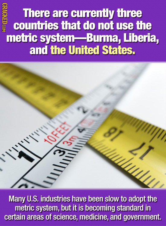 GDAO There are currently three countries that do not use the metric system- -Burma, Liberia, and the United States. yhphii 81 luwlulul 10FEE LI 3m Man