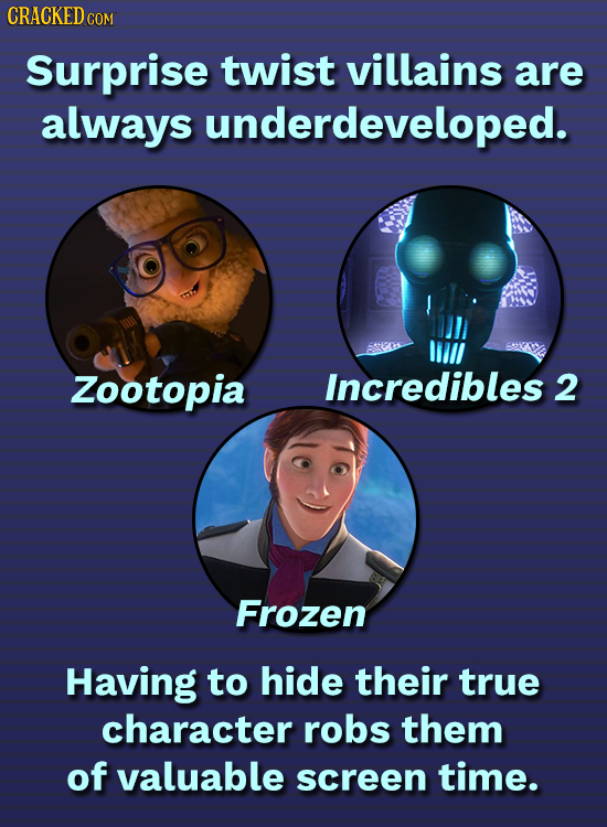 CRACKEDCOR COM Surprise twist villains are always underdeveloped. Zootopia Incredibles 2 Frozen Having to hide their true character robs them of valua