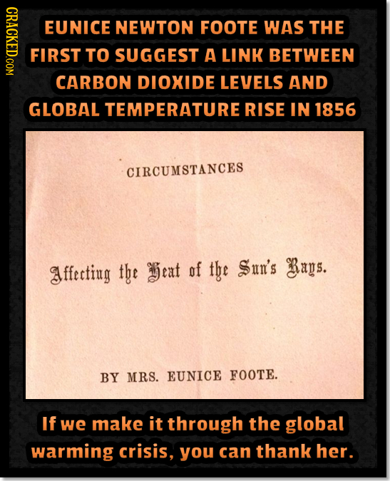 CRAOY EUNICE NEWTON FOOTE WAS THE FIRST TO SUGGEST A LINK BETWEEN CARBON DIOXIDE LEVELS AND GLOBAL TEMPERATURE RISE In 1856 CIRCUMSTANCES ffecting tbe
