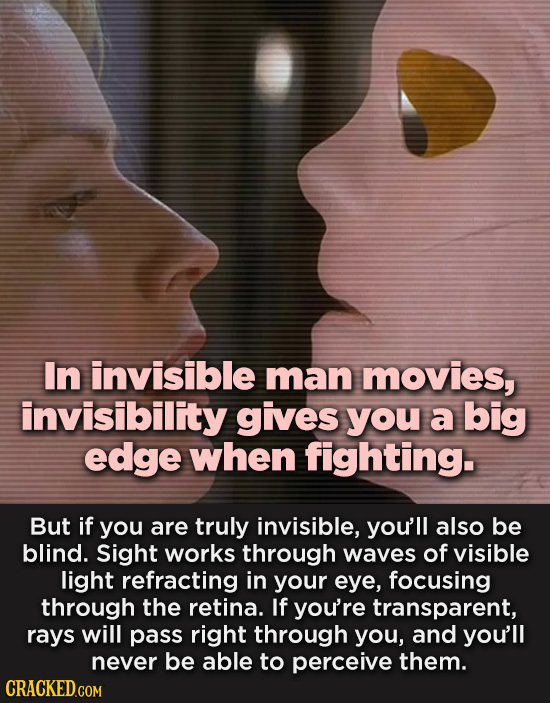 In invisible man movies, invisibility gives you a big edge when fighting. But if you are truly invisible, you'll also be blind. Sight works through wa
