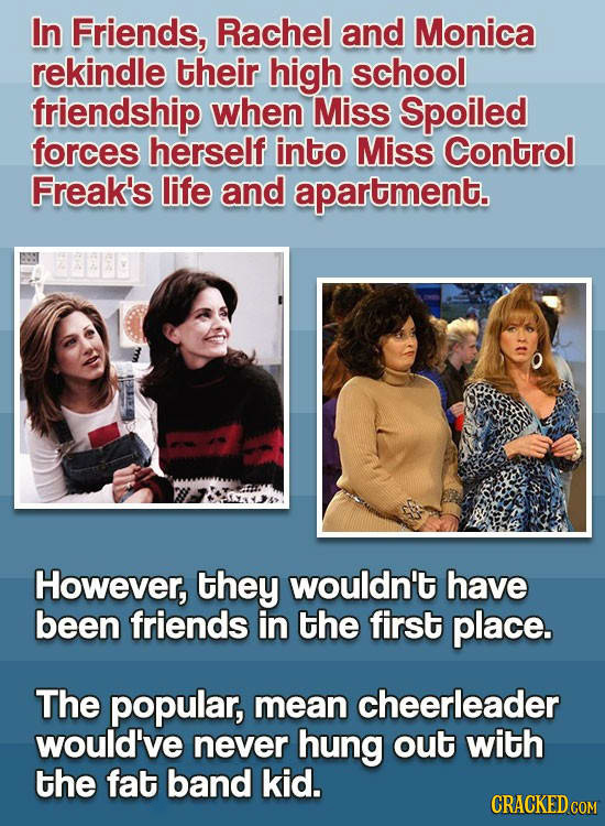 In Friends, Rachel and Monica rekindle their high school friendship when Miss Spoiled forces herself into Miss Control Freak's life and apartment. How