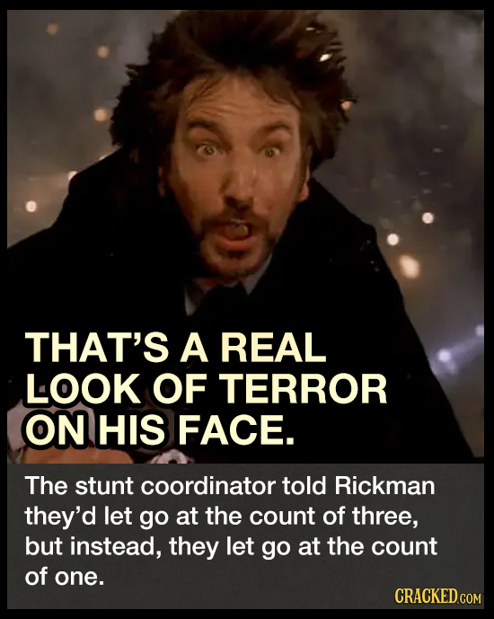 THAT'S A REAL LOOK OF TERROR ON HIS FACE. The stunt coordinator told Rickman they'd let go at the count of three, but instead, they let go at the coun