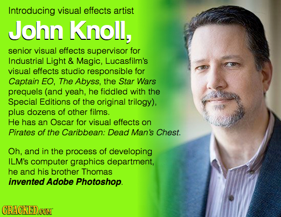 Introducing visual effects artist John Knoll, senior visual effects supervisor for Industrial Light & Magic, Lucasfilm's visual effects studio respons