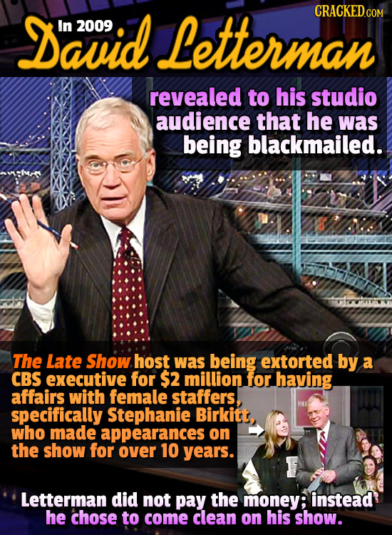 David CRACKED.com In 2009 Letterman revealed to his studio audience that he was being blackmailed.. The Late Show host was being extorted by a CBS exe