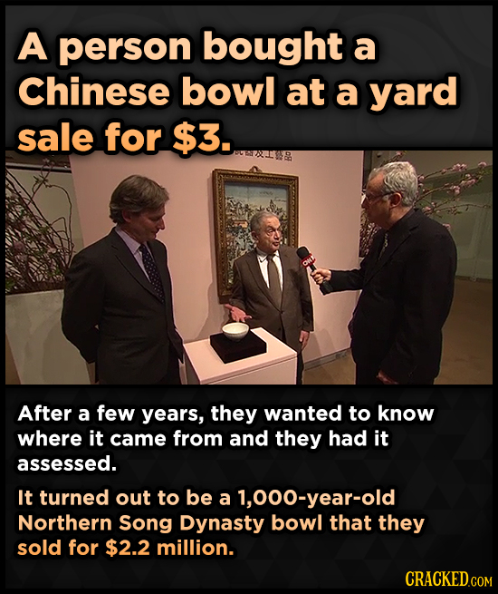 A person bought a Chinese bowl at a yard sale for $3. After a few years, they wanted to know where it came from and they had it assessed. It turned ou