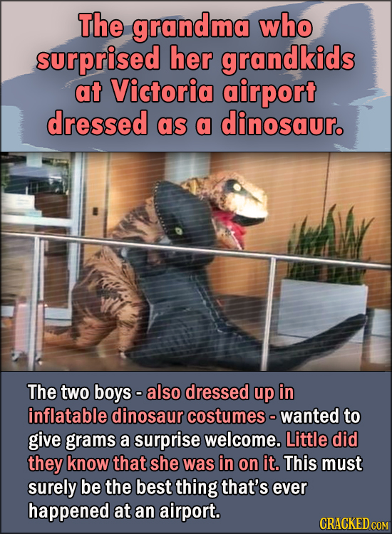 15 Feel Good Stories Of 2020 To End This Wretched Year - The grandma who surprised her grandkids at Victoria airport dressed as a dinosaur.  The two b