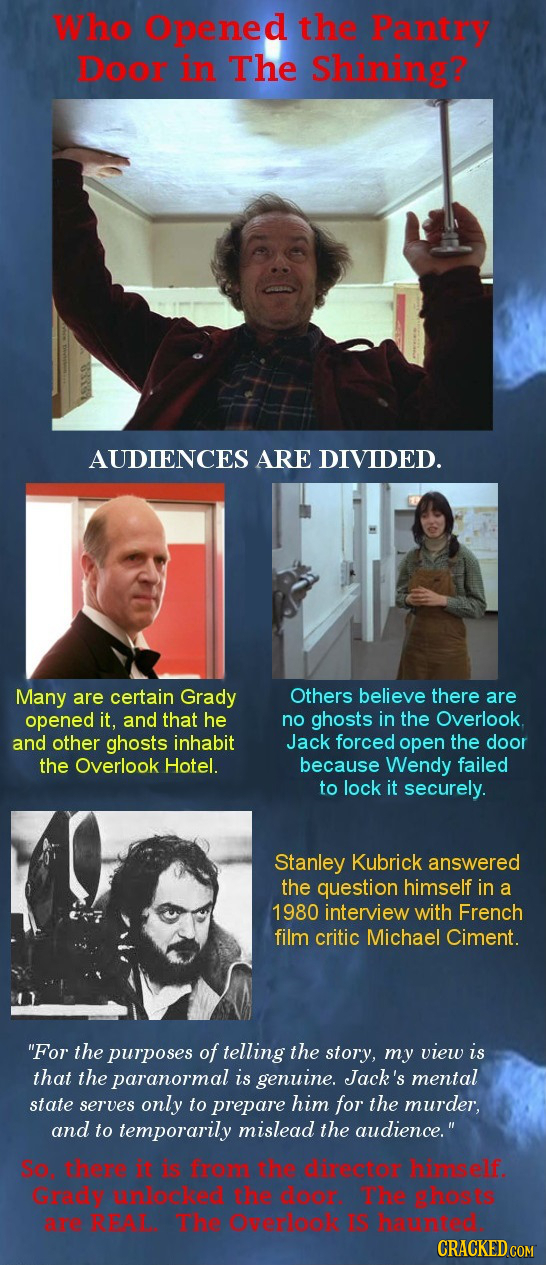 Who Opened the Pantry Door in The Shining? AUDIENCES ARE DIVIDED. Many are certain Grady Others believe there are opened it, and that he no ghosts in