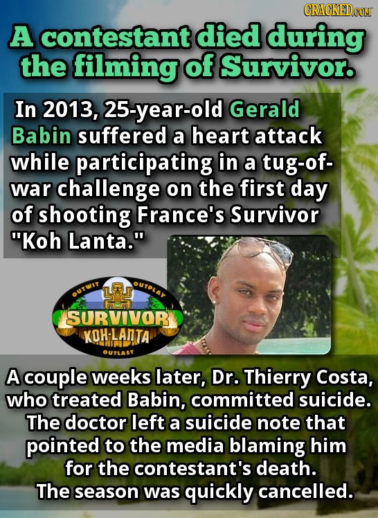 CRACKEDCO A contestant died during the filming of Survivor. In 2013, 25-year-old Gerald Babin suffered a heart attack while participating in a tug-of-