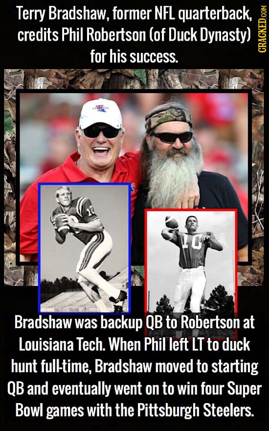 Terry Bradshaw, former NFL quarterback, credits Phil Robertson (of Duck Dynasty) for his success. CRAGN Bradshaw was backup QB to Robertson at Louisia