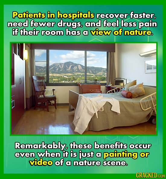 Patients in hospitals recover faster, need fewer drugs, and feel less pain if their room has a view of nature. Remarkablyo these benefits occur even w