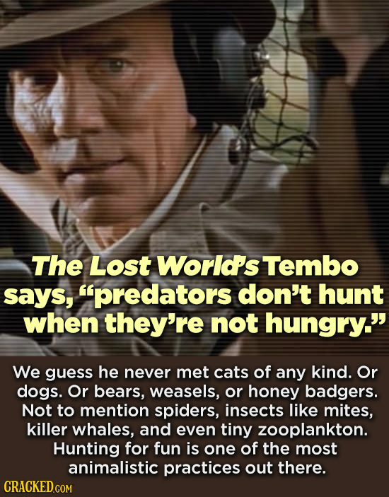The Lost World's Tembo says, predators don't hunt when they're not hungry. We guess he never met cats of any kind. Or dogs. Or bears, weasels, or ho