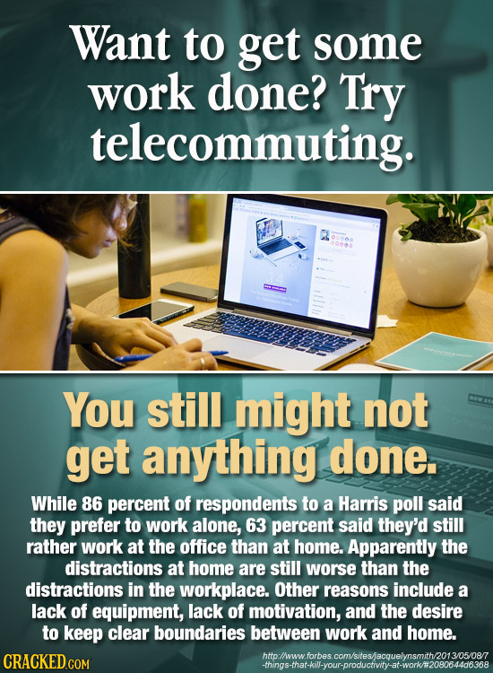 Want to get some work done? Try telecommuting. You still might not get anything done. While 86 percent of respondents to a Harris poll said they prefe