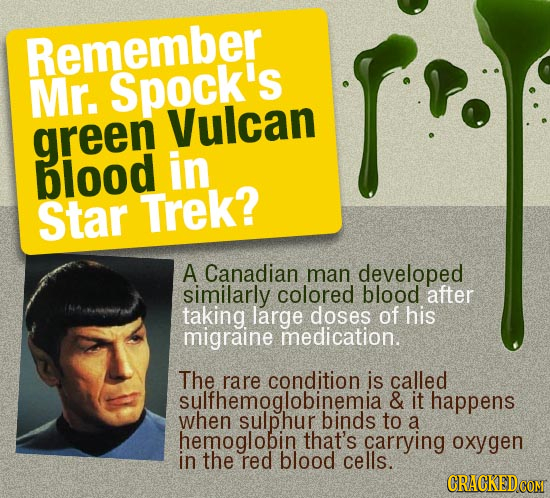 Remember Mr. Spock's Vulcan green blood in Star Trek? A Canadian man developed similarly colored blood after taking large doses of his migraine medica