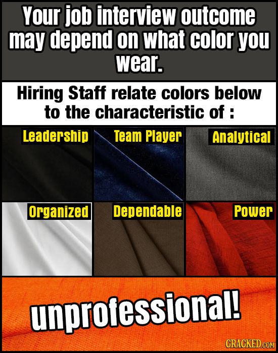 Your job interview outcome may depend on what color you wear. Hiring Staff relate colors below to the characteristic of : Leadership Team Player Analy