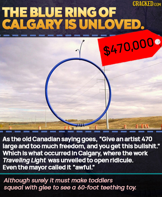 CRACKEDcO THE BLUE RING OF CALGARY IS UNLOVED. $470,000 As the old Canadian saying goes, Give an artist 470 large and too much freedom, and you get t