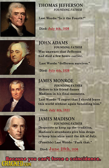 THOMAS JEFFERSON FOUNDING FATHER Last Words: Is it the Fourth? Died: July 4th. 1826 JOHN ADAMS FOUNDING FATHER Was unaware that Jefferson had died a