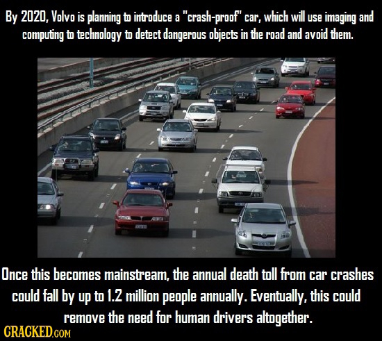 By 2020, Volvo is planning to introduce a crash- -proof' car which will use imaging and computing to technology to detect dangerous objects in the r