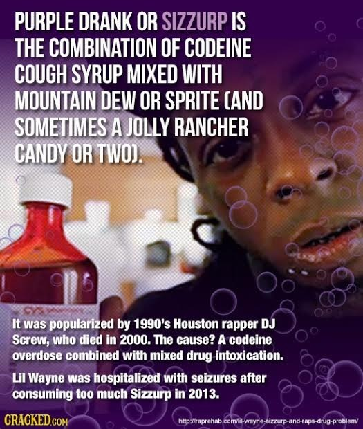 PURPLE DRANK OR SIZZURP IS THE COMBINATION OF CODEINE COUGH SYRUP MIXED WITH MOUNTAIN DEW OR SPRITE AND SOMETIMES A JOLLY RANCHER CANDY OR TWO). It wa