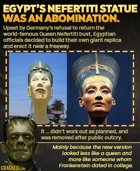 EGYPT'S NEFERTITI STATUE WAS SANABOMINATION. Upset by Germany's refusal to return the orld-famous Queen Nefertiti bust, Egyptian officials decided to