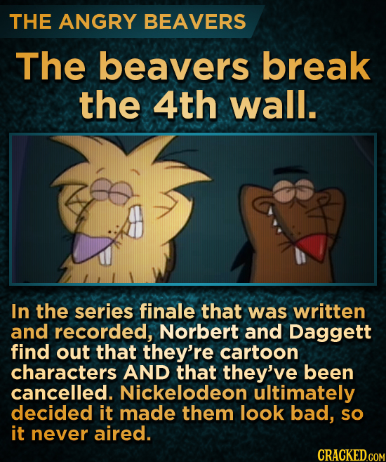 THE ANGRY BEAVERS The beavers break the 4th wall. In the series finale that was written and recorded, Norbert and Daggett find out that they're cartoo