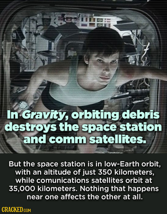 In Gravity, orbiting debris destroys the space station and comm satellites. But the space station is in low-Earth orbit, with an altitude of just 350