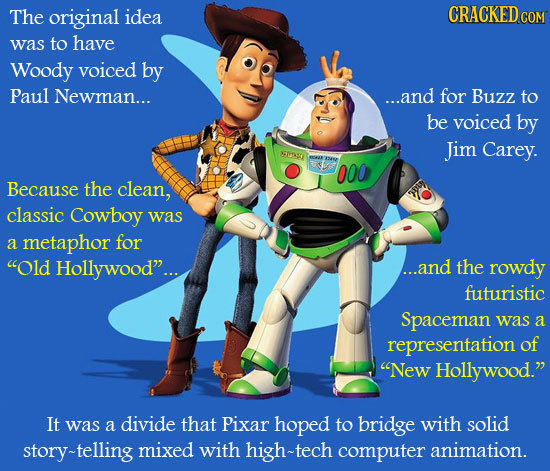 The original idea CRACKEDCO was to have Woody voiced by Paul Newman... ...and for Buzz to be voiced by Jim Carey. lASO N 000 Because the clean, classi