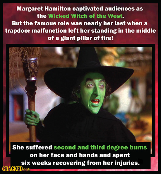 Margaret Hamilton captivated audiences as the Wicked Witch of the West. But the famous role was nearly her last when a trapdoor malfunction left her s