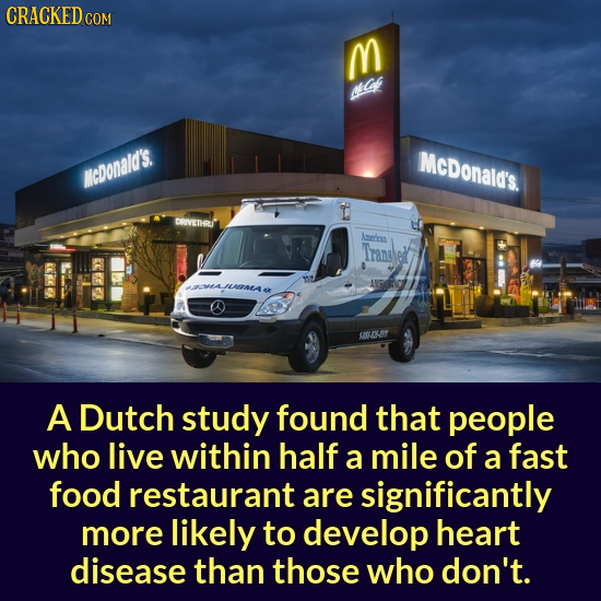 CRACKEDC COM M MIC McDonald's. NcDonald's DRIVETHRU Aere Tranel AVIG JLATETAA YOLKSY A Dutch study found that people who live within half a mile of a