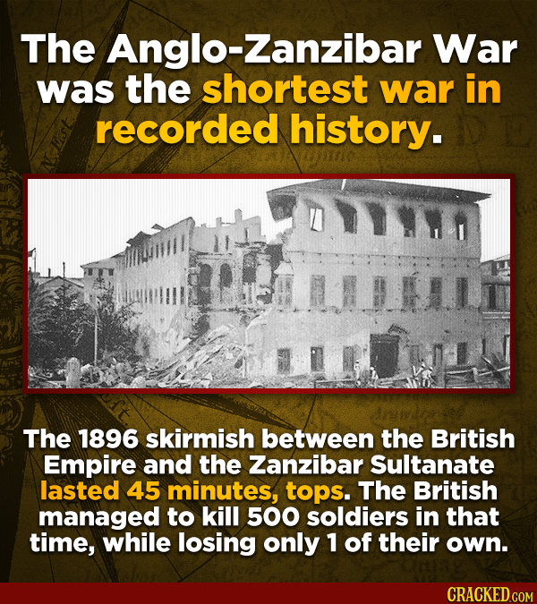 The -Zanzibar War was the shortest war in recorded history. The 1896 skirmish between the British Empire and the Zanzibar Sultanate lasted 45 minutes,