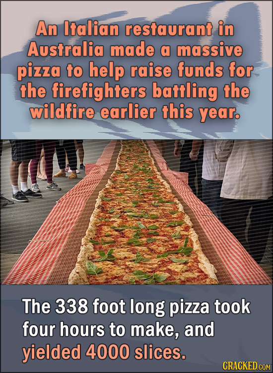 15 Feel Good Stories Of 2020 To End This Wretched Year - An Italian restaurant in Australia made a massive pizza to help raise funds for the firefight