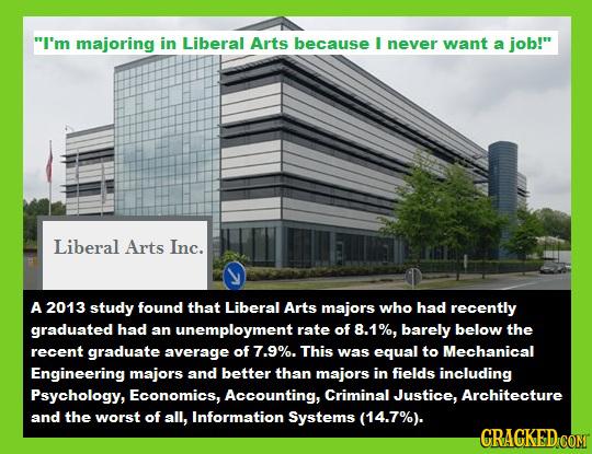 I'm majoring in Liberal Arts because I never want a job! Liberal Arts Inc. A 2013 study found that Liberal Arts majors who had recently graduated ha